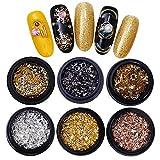 NICOLE DIARY 3D Nail Art Metal Studs Hollow Designed Nail Gems Colorful Alloy Nail Rivet Nail Jewels Decoration Kit (6 Boxes)