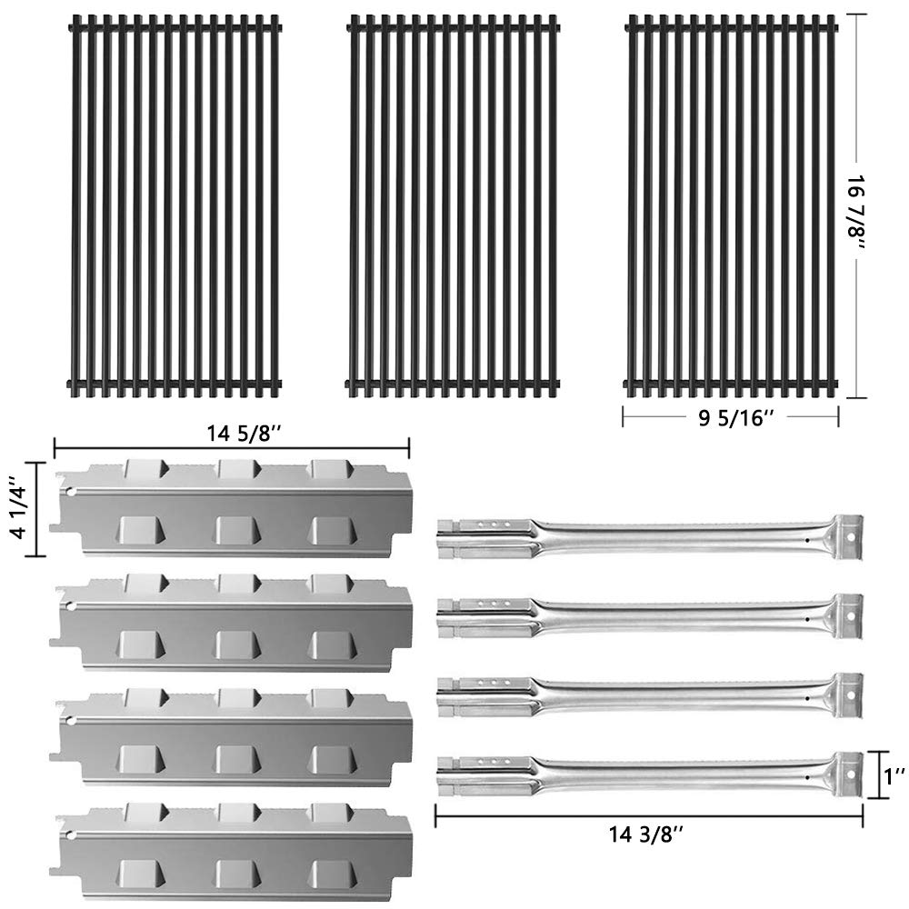 SHINESTAR Grill Replacement Parts for Charbroil 463440109B, 463441312 and Others, Stainless Steel 14-5/8 inch Heat Tent Shield Plate Flame Tamer &Porcelain Steel Cooking Grate Grill Grid & Burner Tube