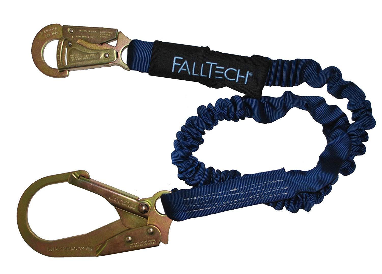 FallTech 82403 ElasTech 6-Foot Shock Absorbing Lanyard with Rebar Hook(5 Pack)