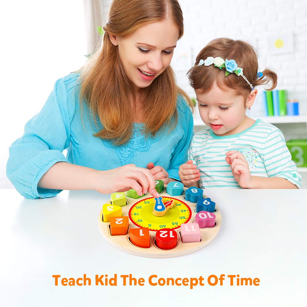 Teaching Time Number Blocks Puzzle Stacking Sorter Jigsaw Montessori Early Learning Educational Toy Gift for 1 2 3 Year Old Toddler Baby Kids Coogam Wooden Shape Color Sorting Clock