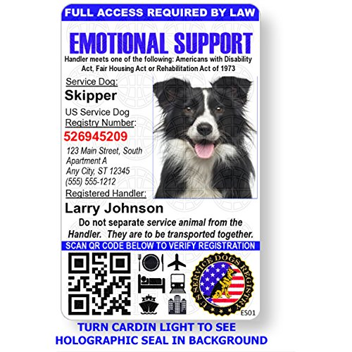 Emotional Support Dog Badge & Leather Wallet with 2 Custom Photo ID's & Registration on US Service Dog Registry by Just 4 Paws (Image #7)