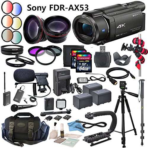 Professional Ultra HD 4K Camcorder Bundle - Sony FDR AX53 Camcorder: Includes Wireless Lapel & Handheld Microphone, LED Video Light, HD Lenses and more... by eDigitalUSA