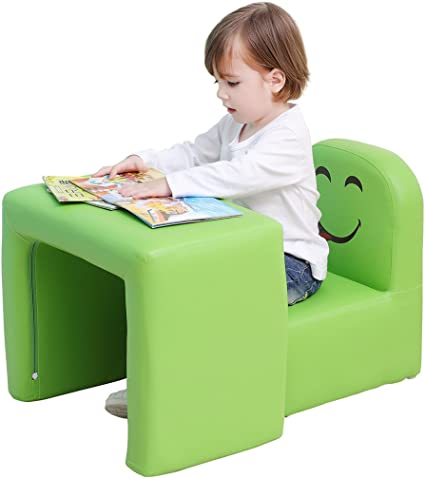 Multifunctional Children's Armchair, Emall Life Kids Chair and Table SetStool with Funny Smile Face for Boys and Girls (Green)