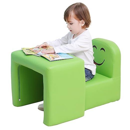 Emall Life Sillón para niños Multifuncional, Silla y Mesa para niños/Taburete con una Sonrisa Divertida para niños y niñas(Verde)