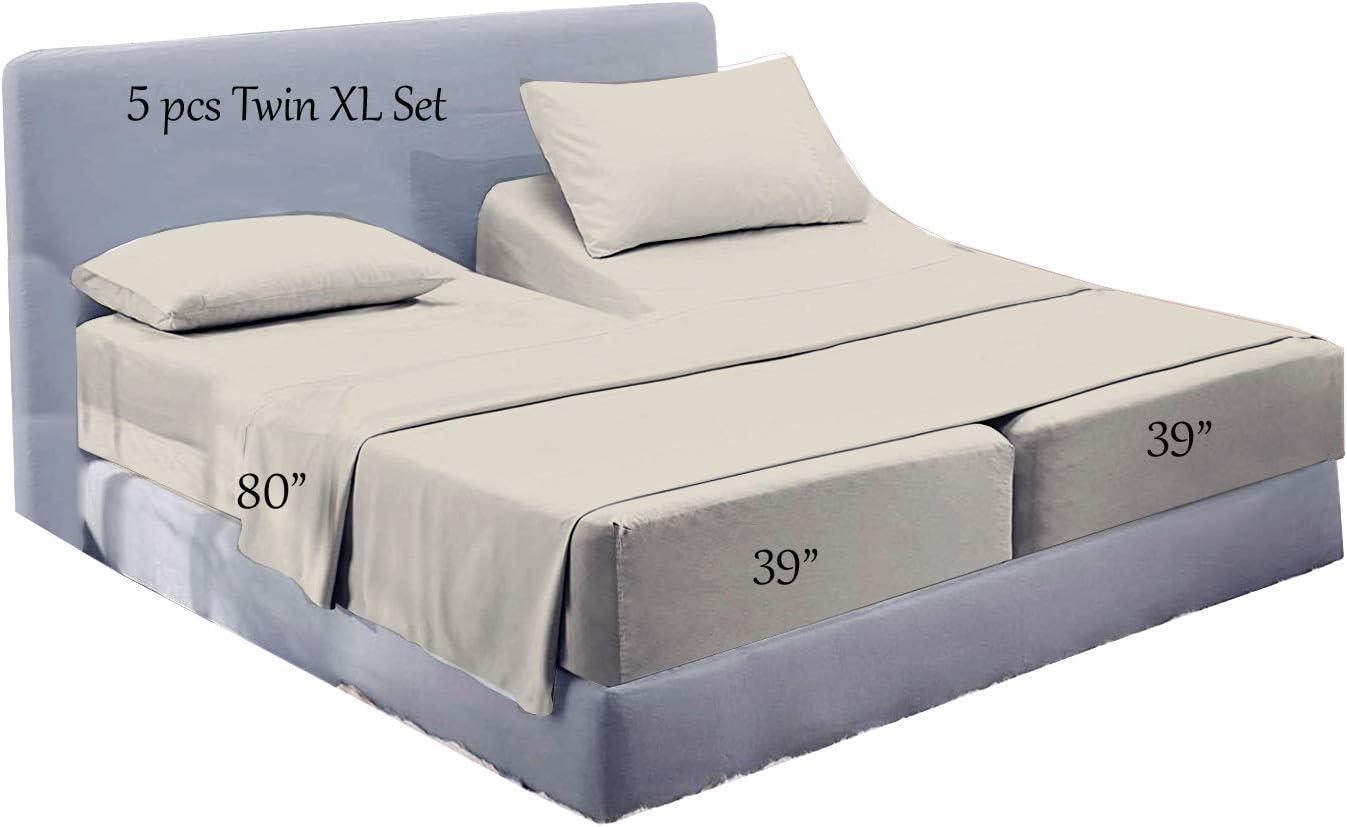 Amazon.com: Split King Sheet Sets for Adjustable Bed 5 Pc Split