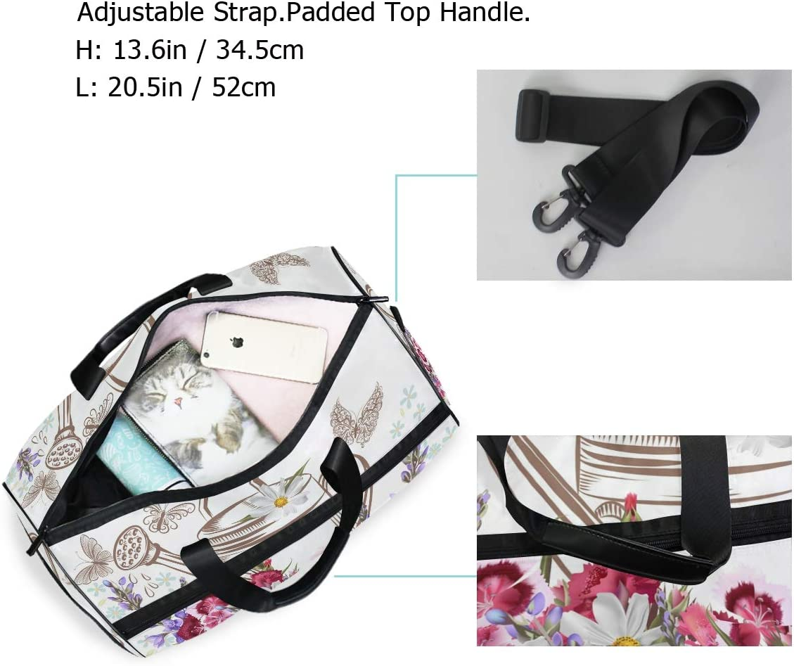 WIHVE Gym Bag Flower Sports Travel Duffel Bag with Shoes Compartment