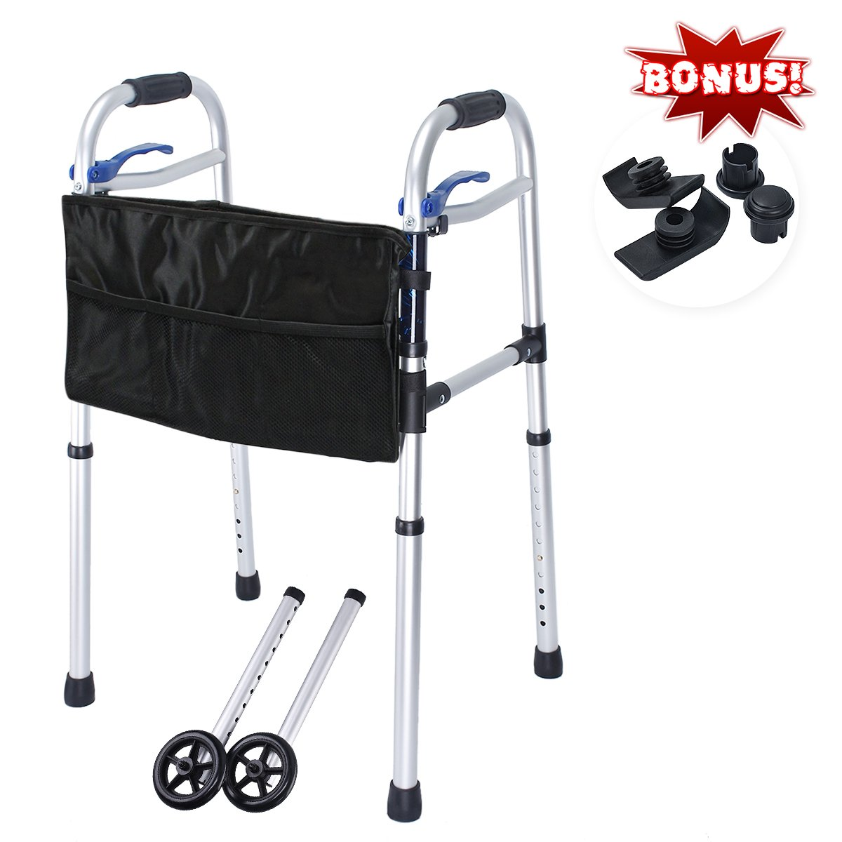 Healthline Deluxe 4-in-1 Trigger Release Aluminium Folding Walker with Extra 5'' wheels and Storage Bag, Supports up to 350 lbs
