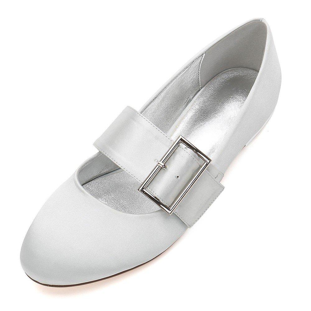 Zxstz Zapatos de Novia de la Boda Zapatos de la Corte Plana Zapatos de Vestir de Fiesta Sola tacón bajo Cerrado Zapatos de Boda Fiesta de graduación, Plata, 41 41EU Plata