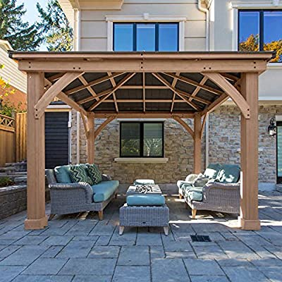 FSC Certified Cedar Wood Aluminum Roof 14' x 12' Outdoor Pavillion Gazebo