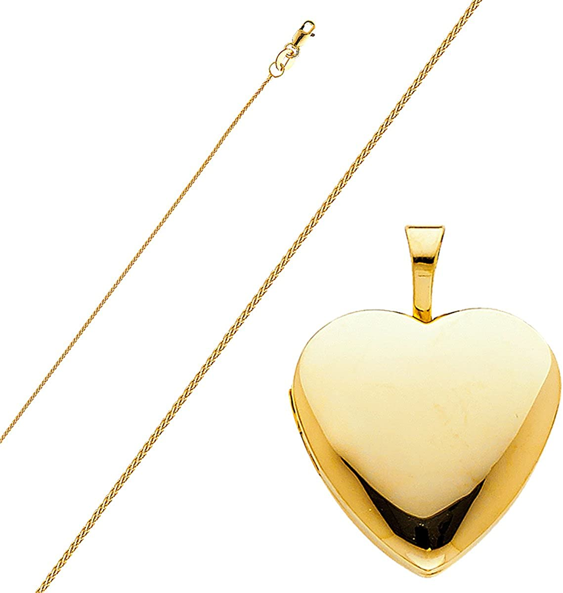 14k Yellow Gold Heart Locket Pendant with 0.8 mm Wheat Chain 16-22