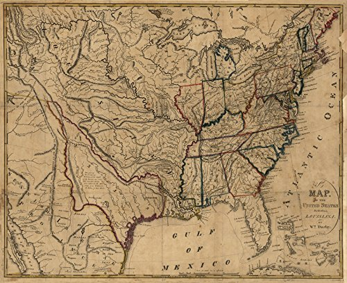 1818 Old Map of US United States Louisiana Territory Purchase France - Reprint (24 inches x 29 inches) (Old United States Map compare prices)