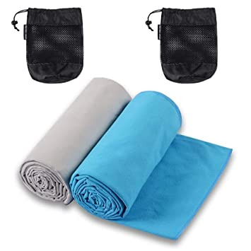 The Friendly Swede Set 2 Toallas de Microfibra para Viaje y Deporte con 2 Bolsas en Red (Azul Claro+Gris 76x152cm): Amazon.es: Deportes y aire libre