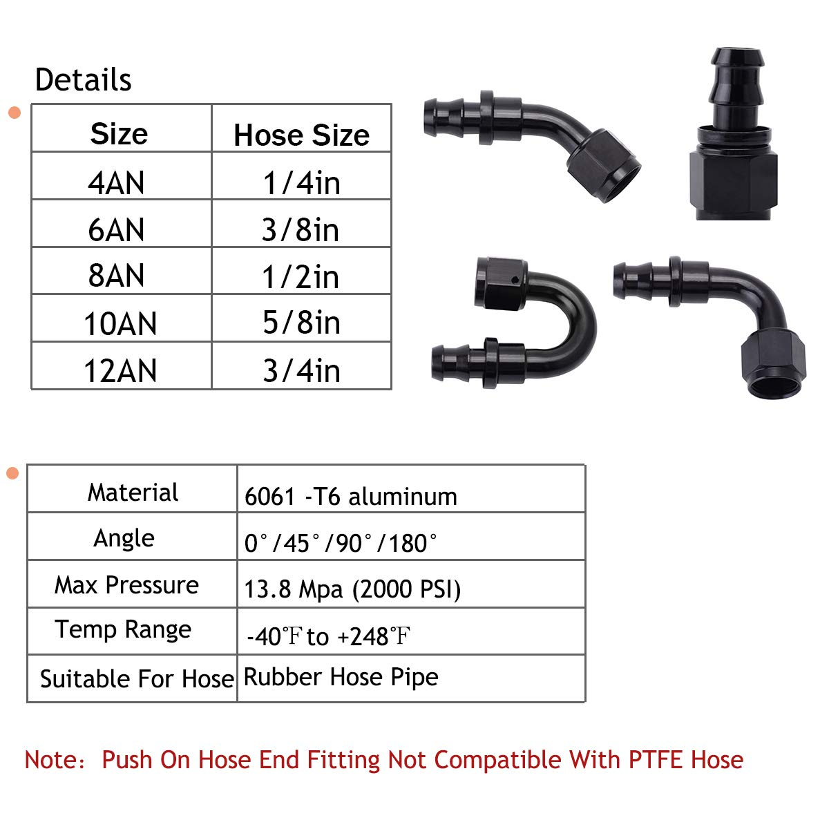 2Pcs 90 Degree Push on Hose End Fitting for 3//8 Fuel Injection Hose ESPEEDER 6AN Push Lock Fitting