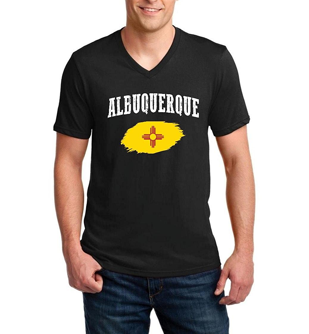 bba080d5b Top1: Albuquerque New Mexico Flag Traveler`s Gift Men V-Neck Shirts Ringspun