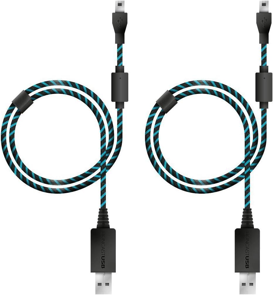 4 m/ètres Micro USB 2.0 Bleu et Noir Lioncast 2X Cable de Recharge Manette pour Xbox One et PS4