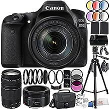 Canon EOS 80D DSLR Camera 39PC Kit- International Version (No Warranty) w/ Canon EF-S 18-135mm f/3.5-5.6 IS USM Lens, Canon EF 75-300mm f/4-5.6 III Lens, Canon EF 50mm f/1.8 STM Lens, MORE