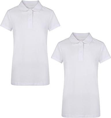 Ex Uk Store Girls 2 Pack White School Polo T Shirts Pique 3 16y Amazon Co Uk Clothing