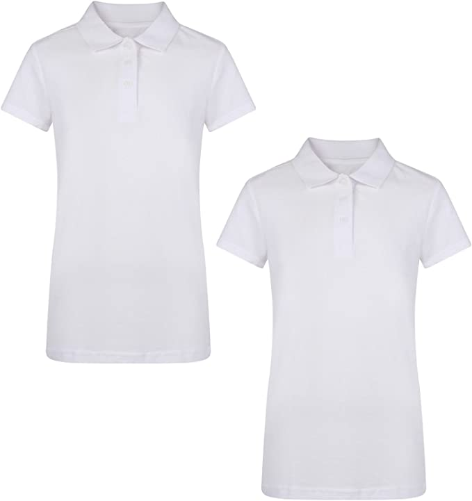 Ex UK Store Girls 2 Pack White School Polo T Shirts Pique 3-16Y