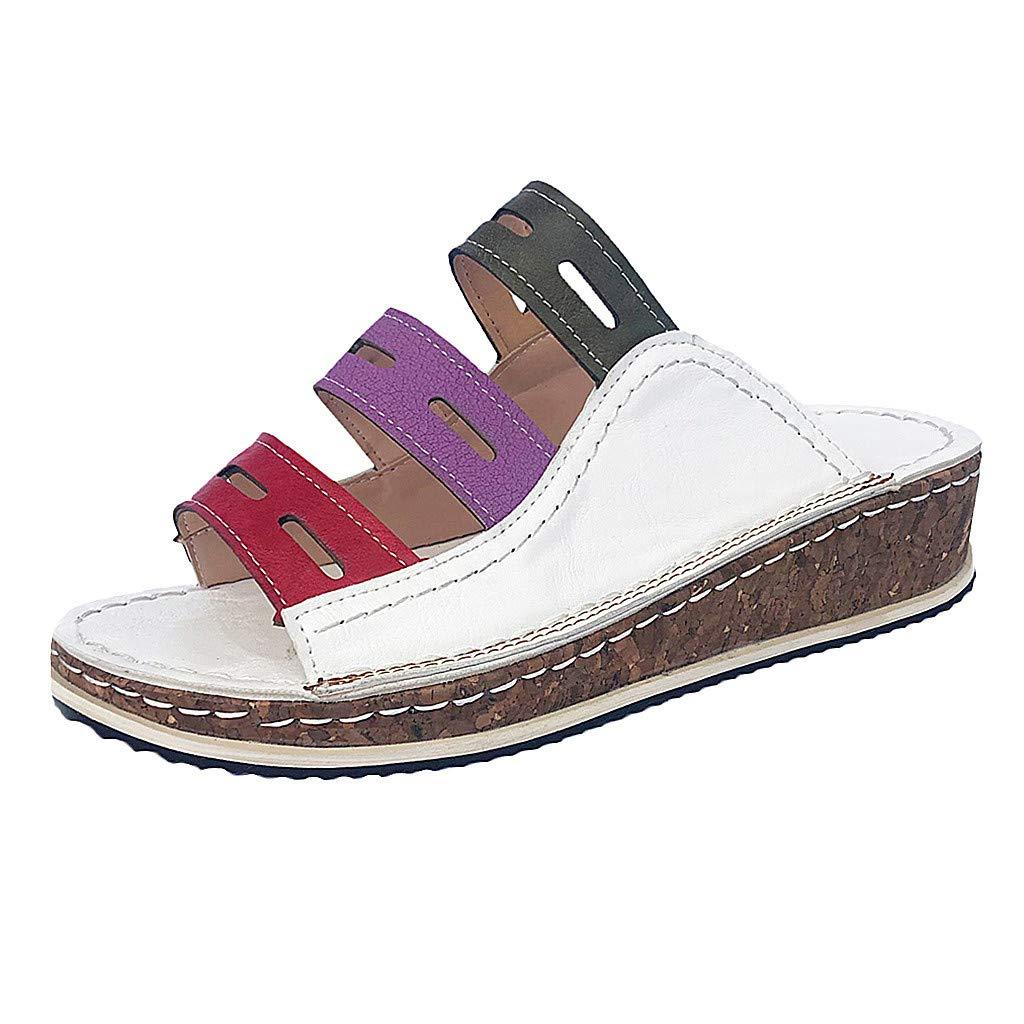 Damen Sandalen Pantoletten Sommer Hausschuhe Bequeme Plattform Sandal Clogs /& Pantoletten Plateausandalen mit Keilabsatz Badeschlappen Rutschfeste Flip Flops Badeschuhe