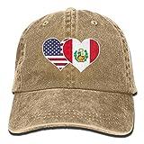 NZWJW85 2018 Adult Fashion Cotton Denim Baseball Cap American Peru Flag Heart Classic Dad Hat Adjustable Plain Cap