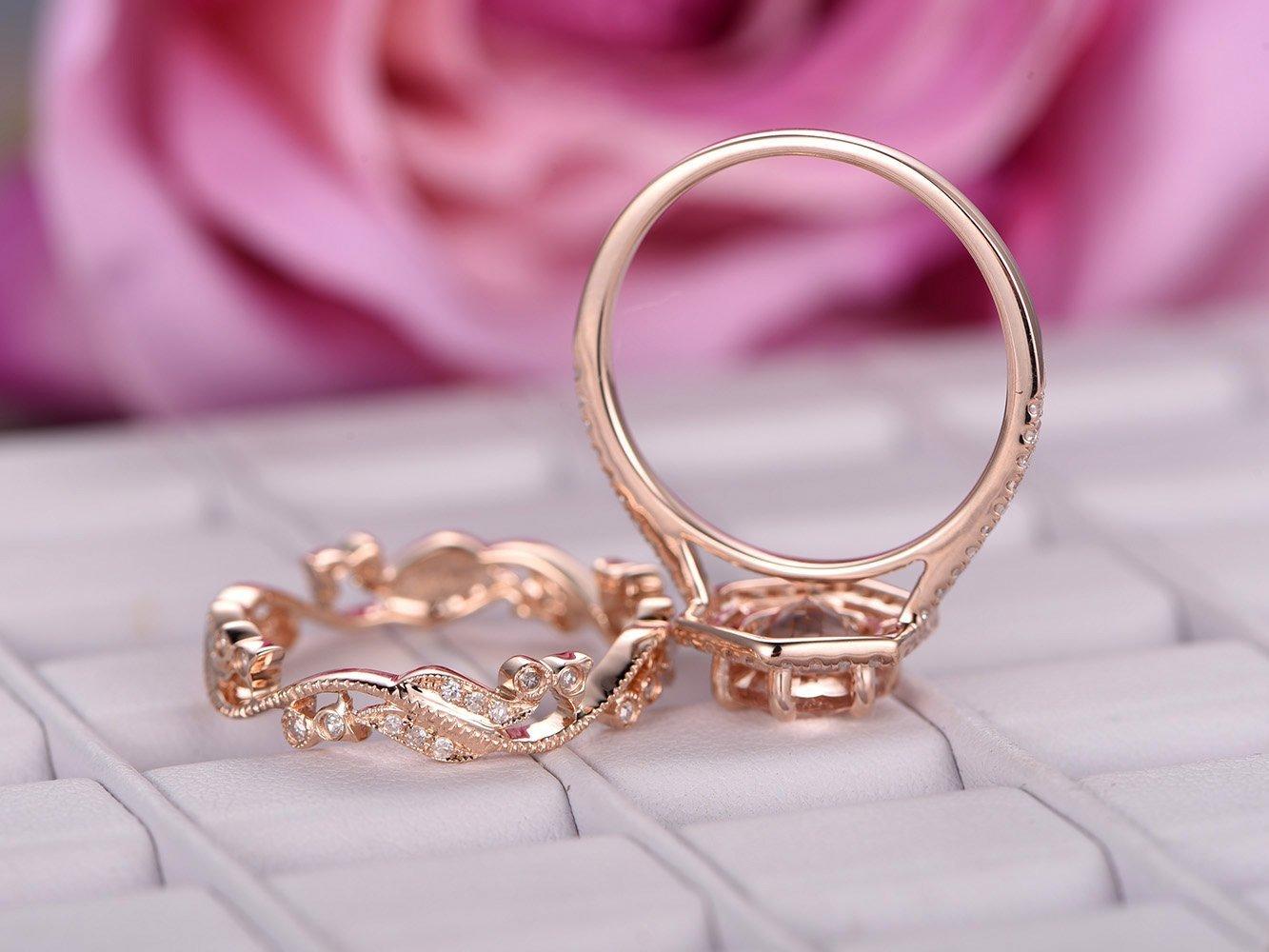Amazon.com: Round Morganite Engagement Ring Set Pave Diamond Wedding ...