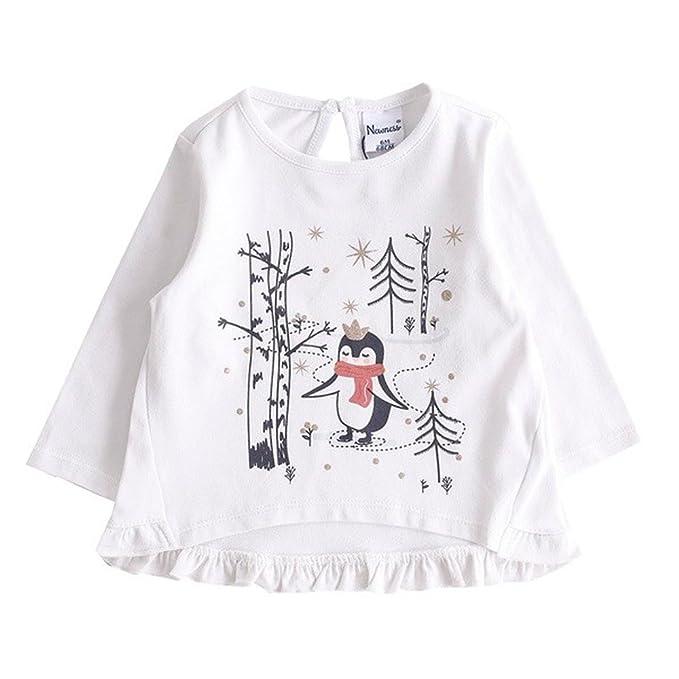 dc7a153e3 NEWNESS Camiseta Pingúino Bebe Niña 3-24 Meses  Amazon.es  Ropa y ...