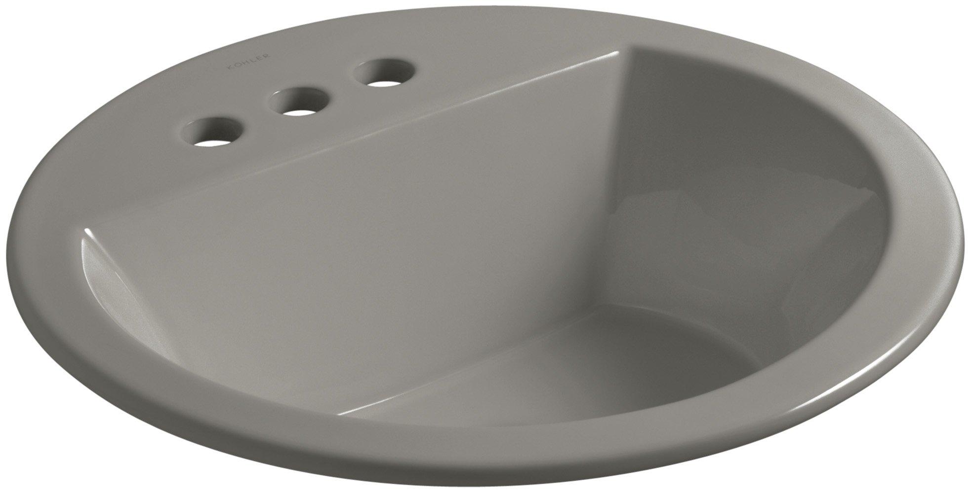 KOHLER K-2714-4-K4 Bryant Round Drop-In Bathroom Sink with Centerset Faucet Holes, 4'', Cashmere by Kohler
