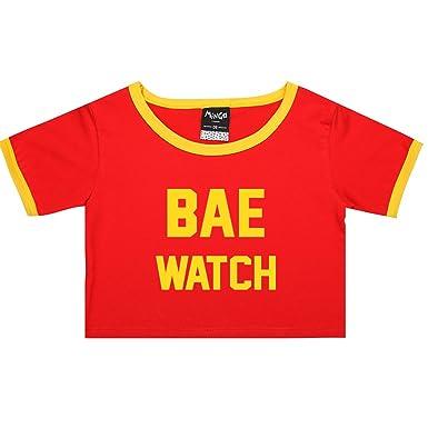 267806153ec Bae Watch Ringer Tee Crop T-Shirt Fun Women s Lifeguard  Amazon.co ...
