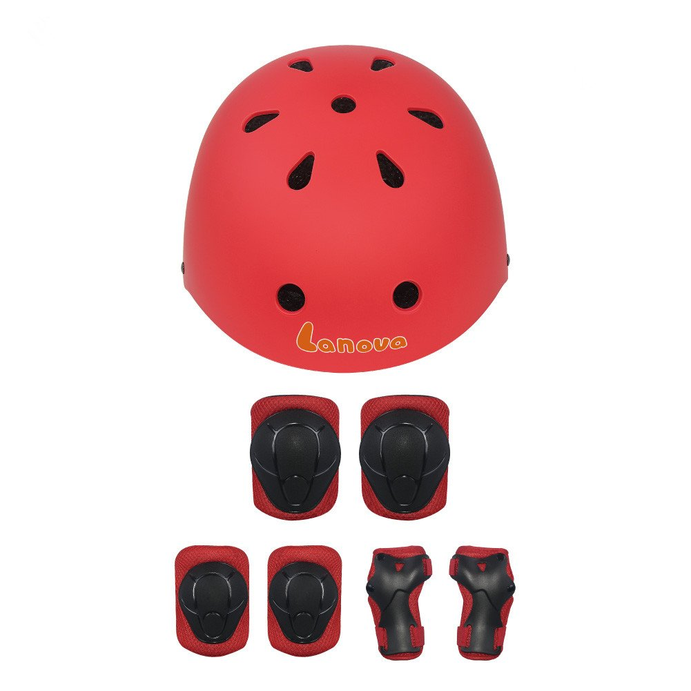 LANOVAGEAR Kids Toddler Cycling Bicycle Protective Gear Set 7pcs Boy Girl Adjustable Helmet Elbow Knee Wrist Pads for Multi Sports Skateboarding Rollerblading Bike (Red, Small) by LANOVAGEAR (Image #10)