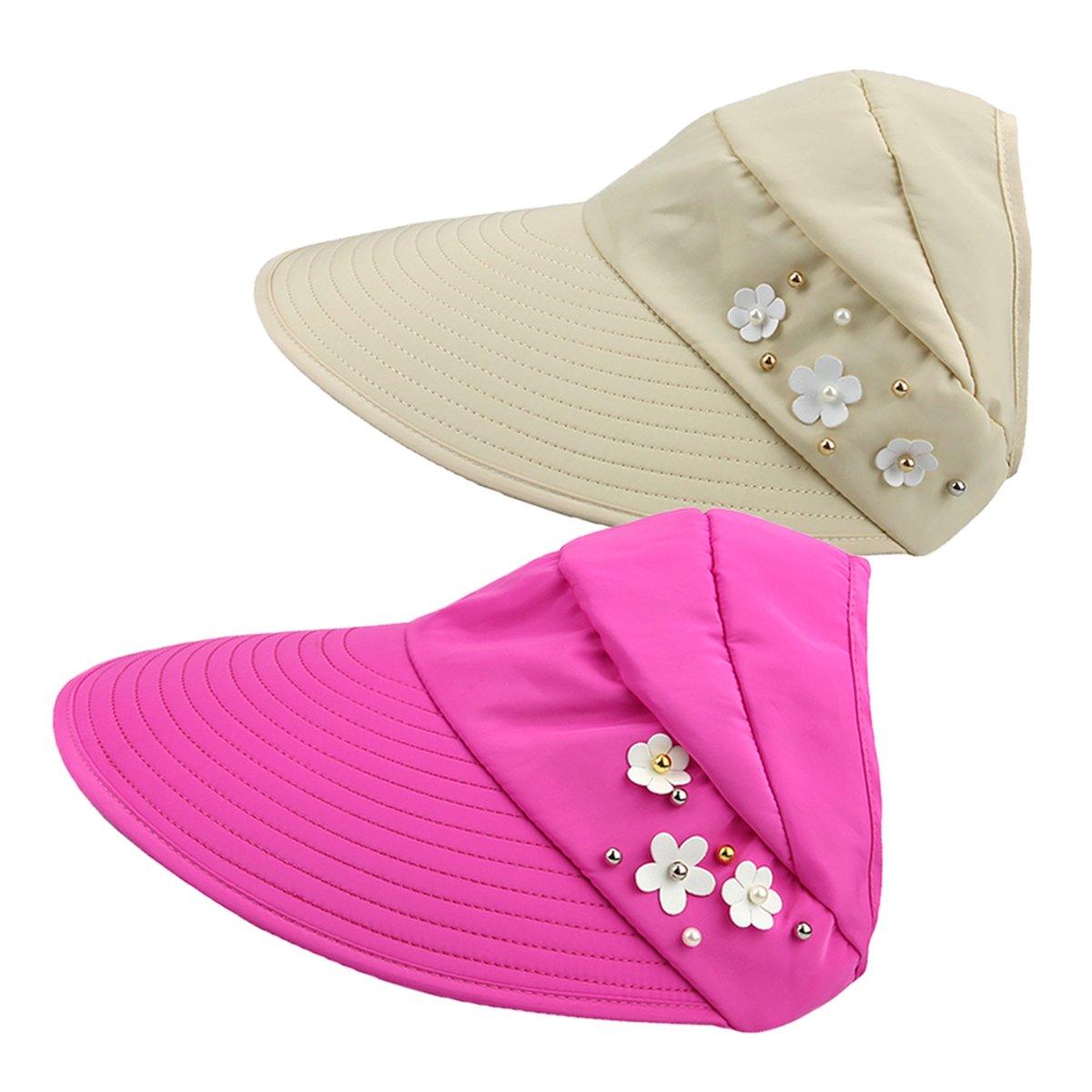 Women\'s Roll Up Topless Wide Brim Visor Cap 2 Packs Summer Sun Hat Adjustable Foldable Cotton UV Protection Hat