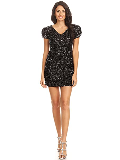 61a80c20d74 Anna-Kaci Womens Sexy Short Sleeve Sequin Bodycon Mini Cocktail Party Club  Dress  Amazon.co.uk  Clothing