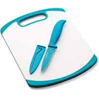 Farberware Paring Knife and Cutting Board Set, White/Blue -