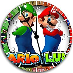 Borderless Super Mario Luigi Frameless Wall Clock W90 Nice for Decor Or Gifts