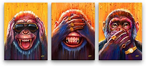 Inktuitive 'Three Wise Monkeys Set Inspirational Wall Art