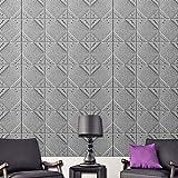 PE Foam 3D Wallpaper, DIY Thick Elastic Self-Adhesive Waterproof Anti-Crash Background Decals Living Room Bedroom Decoration (Grey)