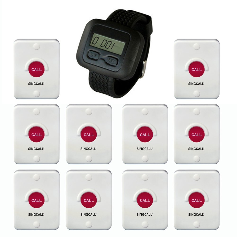 SINGCALL Wireless Hotel Service System, Waterproof, Sun-proof, Dustproof, Can Be Set in the Bathroom or Outdoor, 10 Pagers and 1 Receiver