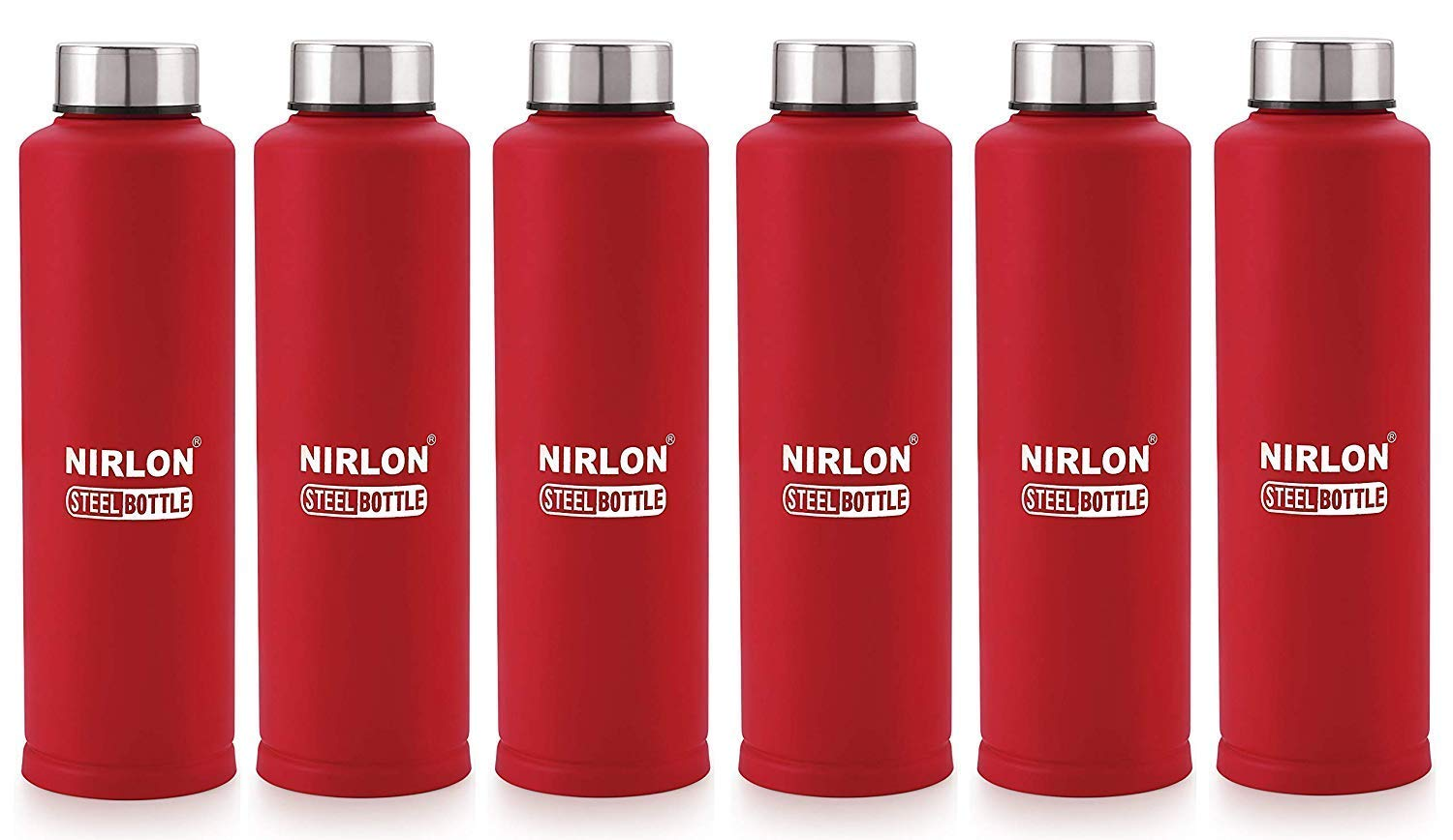 Stainless Steel Water Bottle with Mat Red Color, 1 Litre, 6 Piece (Red)