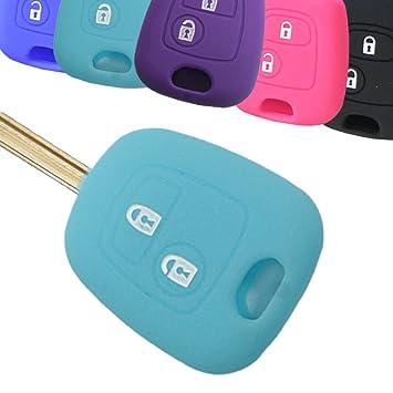 Muchkey® Funda para llave de piel chaqueta para Peugeot Citroen coche 2 botones mando a distancia Protector de silicona Shell 1 pieza Bule