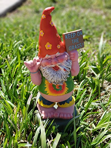 Hippie Gnome Pot Smoking Keep On Grass Garden Gnome Statue Organically For Sale