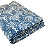 Handmade 10 Yards Tree Of Life Hand Block Printed Cotton Fabric Indian Anokhi Design 44 Inch Wide Indigo