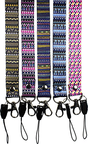 5 PCS Oliveland Tribal Pattern Lanyards Keychain/id Badge/cellphone Holder (mix aztec package)