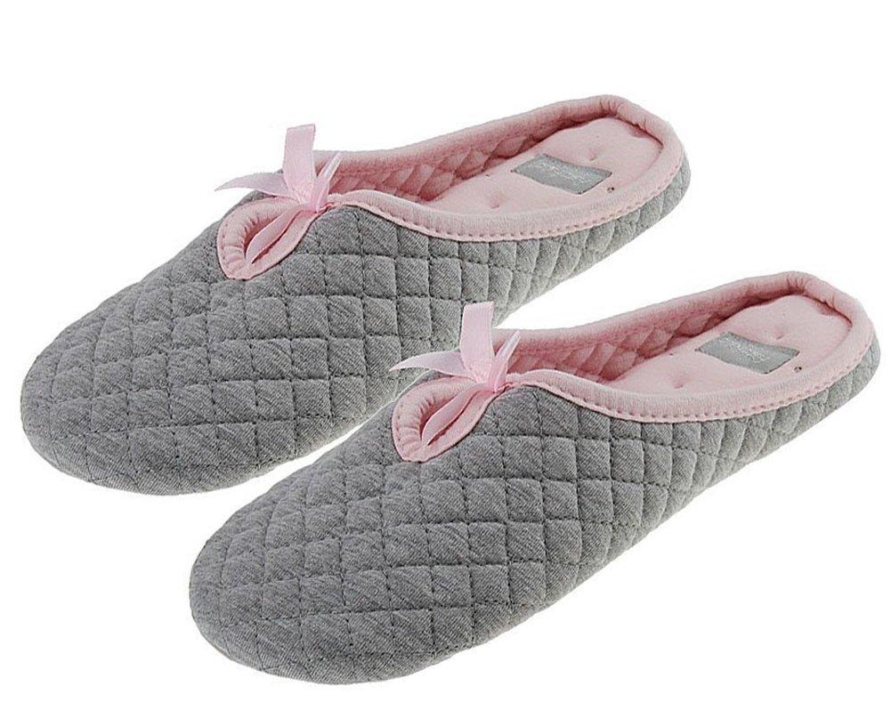 BXT - Pantofole da donna in 100% cotone trapuntato, morbidissime, calde, decorate con un fiocchetto, idea regalo per Natale, grigioGrigio