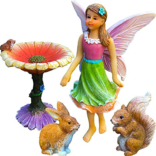 Fairy Garden Kit - Miniature Figurines & Accessories - Hand Painted Flower Set of 4 pcs - for Outdoor or House Decor - By Mood Lab