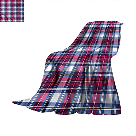 Amazon com: Plaid Weave Pattern Extra Long Blanket Pink and