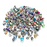 Pansona Assorted Silver Tone Charms Rhinestones Bead Charms Murano Glass Beads and Spacers Pack of 50