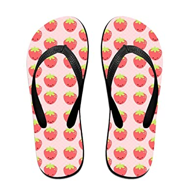 Unisex Non-slip Flip Flops Strawberry Background Cool Beach Slippers Sandal