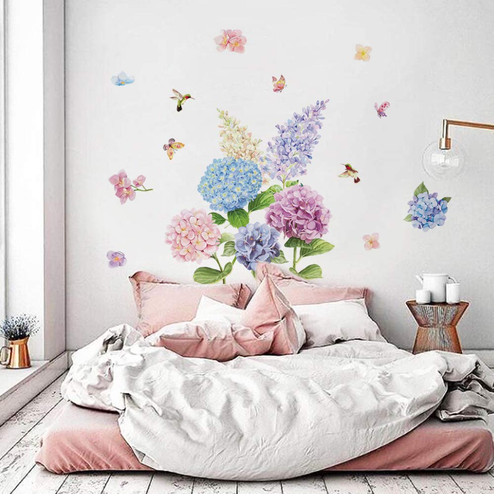 21fb9cfd7d Amazon.com: decalmile Romantic Hydrangea Flower Wall Decals Bedroom Wall  Art Stickers Living Room Home Decor: Home & Kitchen