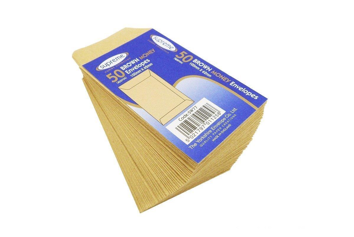 50 x 100X62 Money Pocket Plain Envelopes Supreme