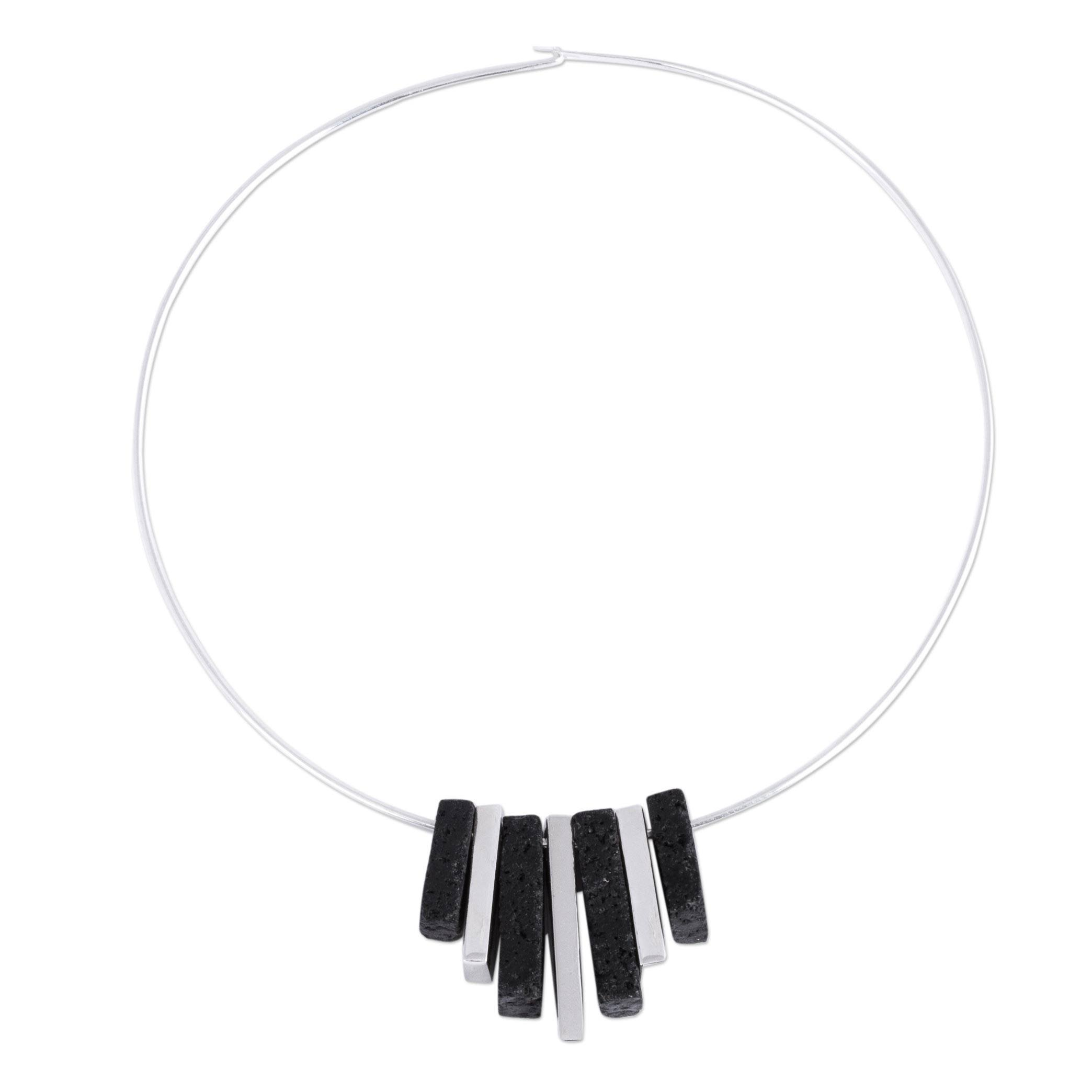 NOVICA .925 Sterling Silver Collar Necklace, 15.75'' 'Dangling Talismans'
