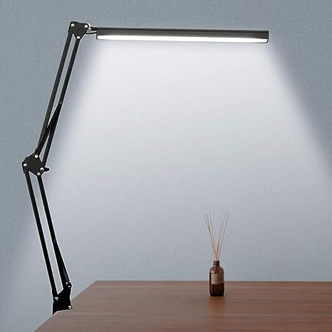 Novolido 10w Lampada Da Scrivania A Led 3 Modalita Colore E Regolazione Continua Lampada Da Tavolo Per Architetto Con Braccio Oscillante In Metallo Funzione Di Cura Degli Occhi E Memoria Nero